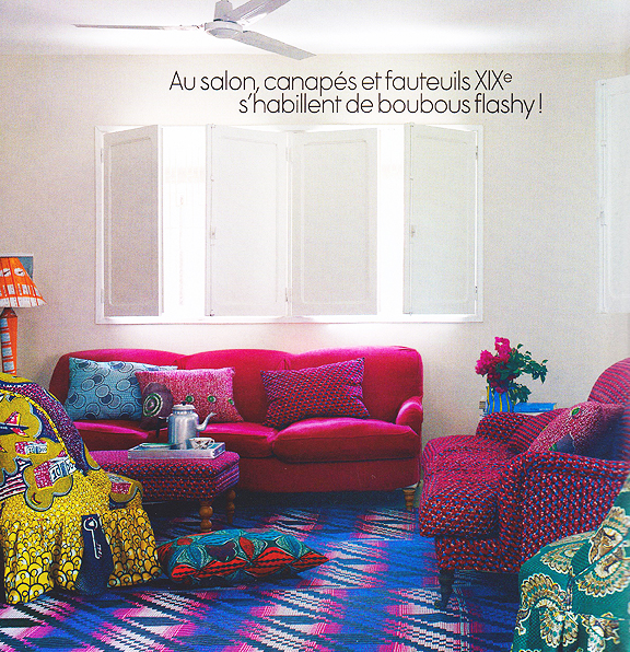 Interior design in house in Senegal from Elle Decor, July / Aug 2011.