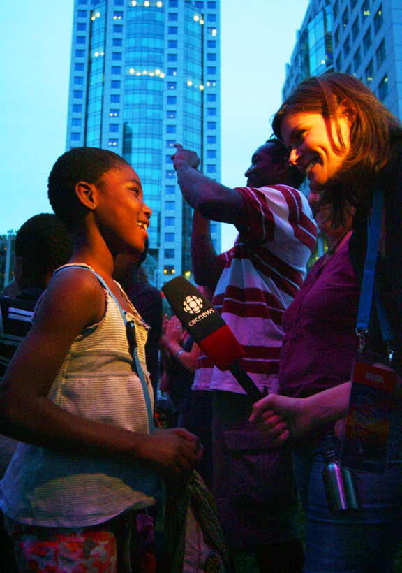 Mary being interviewed by the CBC at K'NAAN