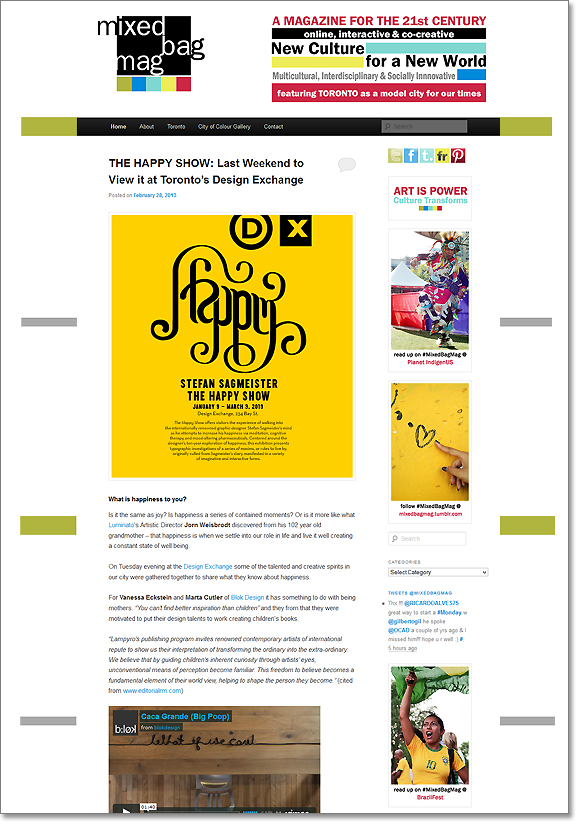 Screen capture of website with content in the middle reading The Happy Show with a background of yellow.