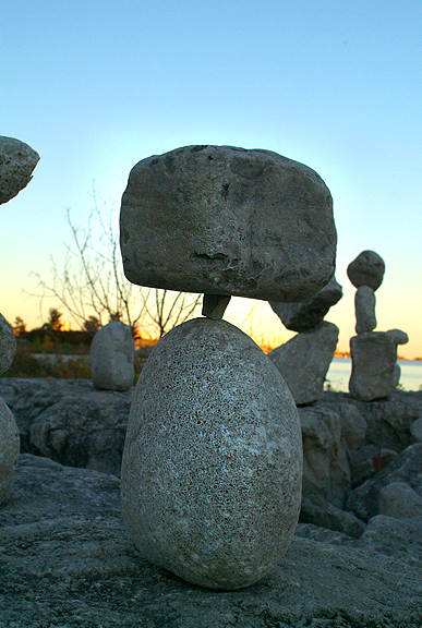 Inukshuks and rock balancing at the Humber Bridge, Toronto, October, 2010.