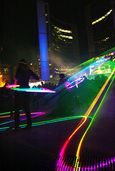 Flashing lights. Scotiabank's Nuit Blanche 2011. Photography by Leah Snyder.