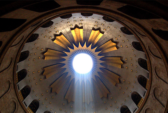 Inside the Church of the Holy Sepulchre, Israel. Photograph by Scott P. Smith