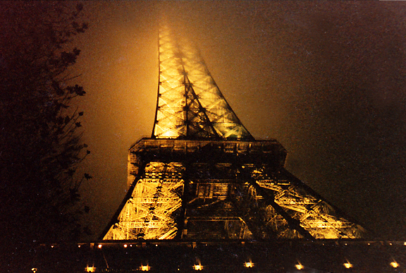 The Eiffel Tower on a November night.