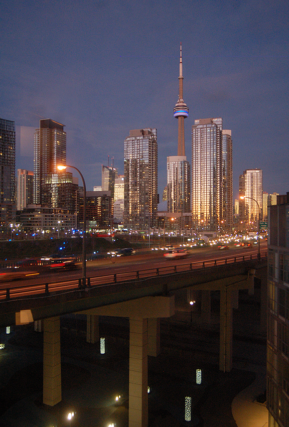 The CN Tower and Gardiner Expressway, Toronto. Photography by Leah Snyder.